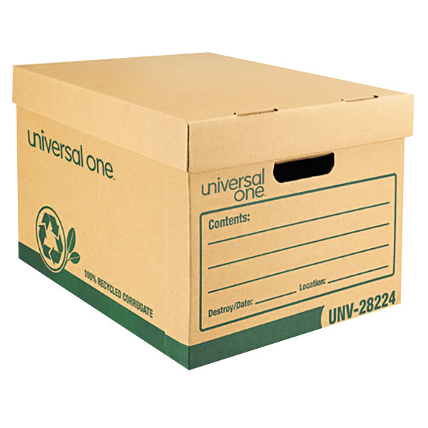 """Universal UNV28224 100% Recycled 12"""" x 15"""" x 10"""" Heavy-Duty Kraft Letter / Legal File Storage Box with Lid - 12/Case Main Image 1"""