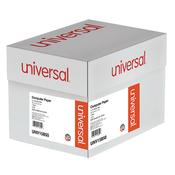 "Universal UNV15850 11"" x 14 7/8"" Green Bar Case of 15# Perforated Continuous Print Computer Paper - 1650 Sheets Main Image 1"