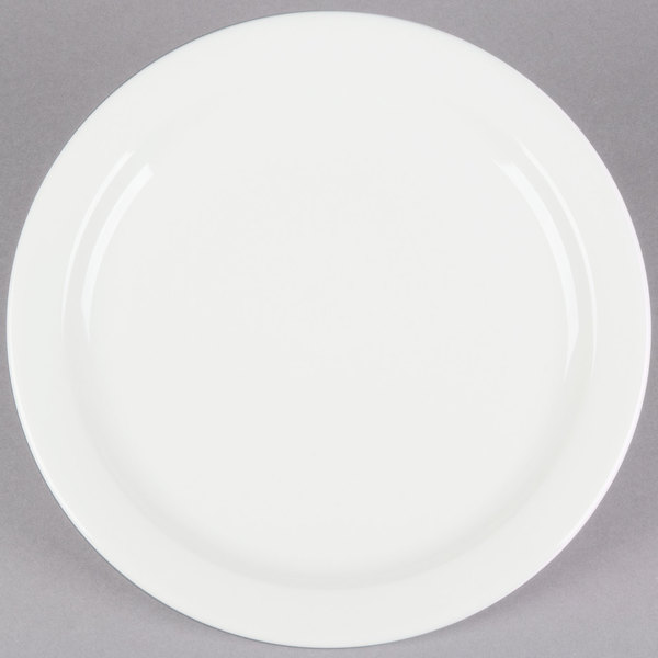 Choice 10 1/2 inch Ivory (American White) Narrow Rim China Plate - 12/Case
