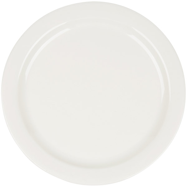 Core 10 1/2 inch Ivory (American White) Narrow Rim China Plate - 12/Case