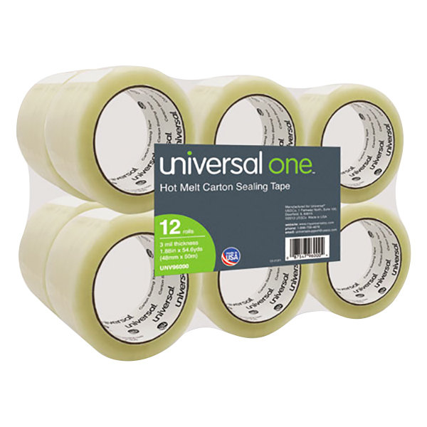 """Universal UNV96000 2"""" x 55 Yards Clear Heavy-Duty Box Sealing Tape - 12/Pack"""