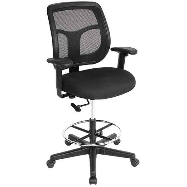 Eurotech Seating DFT9800-5806 Apollo Dove Black Fabric / Mesh Swivel Drafting Stool Main Image 1