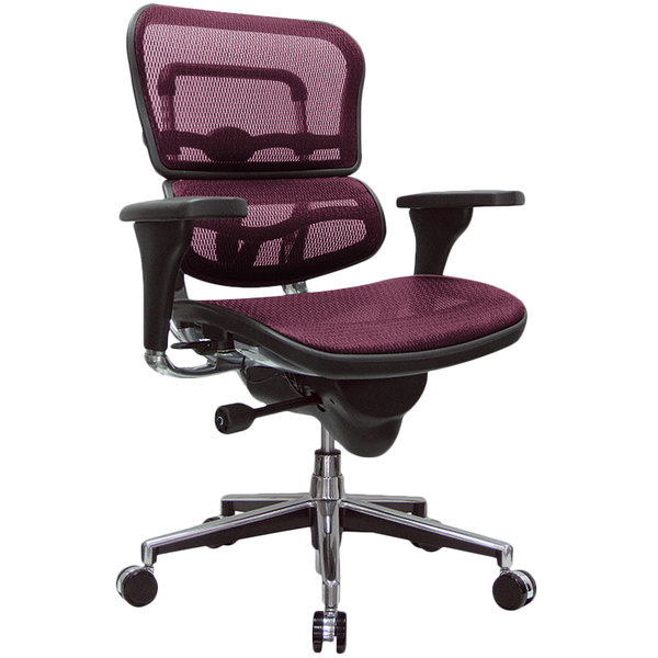 Eurotech Seating ME8ERGLO-KM12 Ergohuman Plum Red Mesh Mid Back Swivel Office Chair