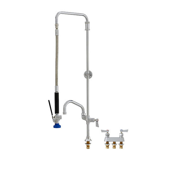 "Fisher 52159 Deck Mounted Pre-Rinse Faucet with 4"" Remote Valve Centers, Swivel Arm, 12"" Add-On Faucet, and Wall Bracket"