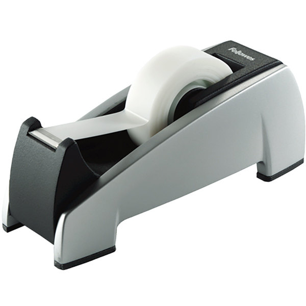 "Fellowes 8032701 Office Suites 1"" Core Black/Silver Weighted Plastic Desktop Tape Dispenser"