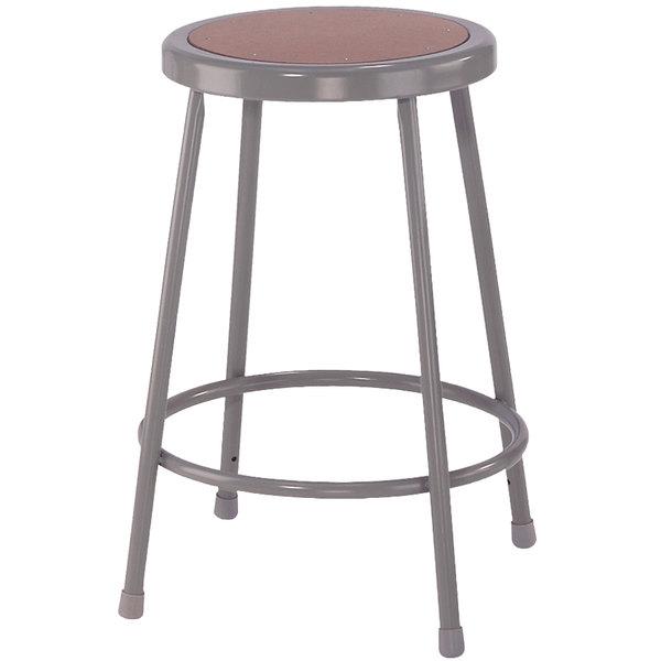 "National Public Seating 6224 24"" Gray Hardboard Round Lab Stool"