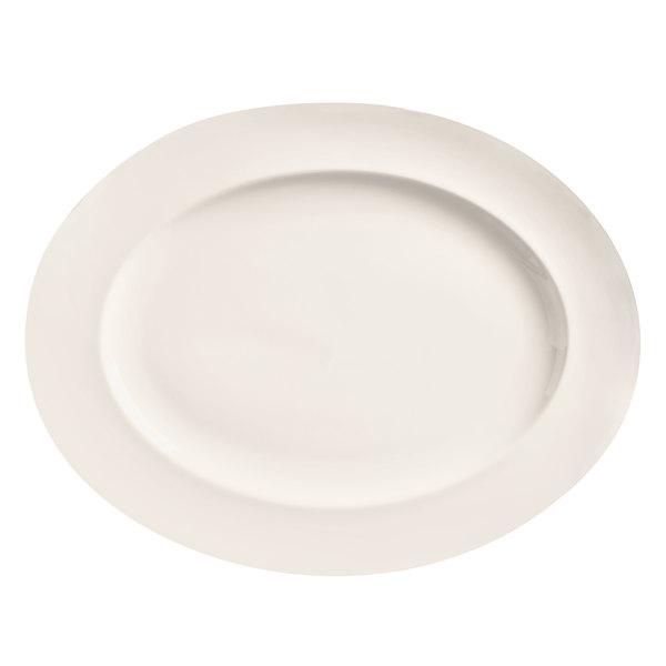 """World Tableware BW-1122 Basics 13 1/4"""" x 10 1/4"""" Bright White Oval Medium Rim Porcelain Platter - 12/Case"""