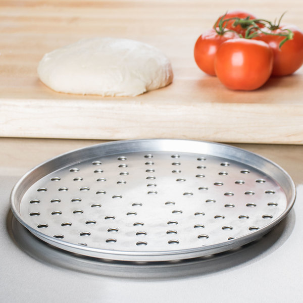 "American Metalcraft PA2010 10"" x 1/2"" Perforated Standard Weight Aluminum Tapered / Nesting Pizza Pan"