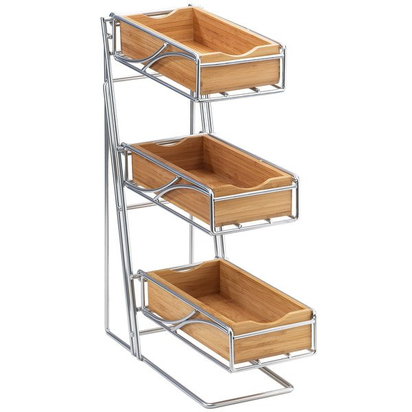 "Cal-Mil 1235-39-60 Platinum Three Tier Flatware Display with Bamboo Bins - 5 1/4"" x 14"" x 18"""
