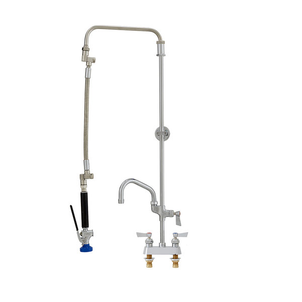 "Fisher 30783 Deck Mounted Ultra-Flex Pre-Rinse Faucet with 4"" Centers, Swivel Arm, 10"" Add-On Faucet, and Wall Bracket"
