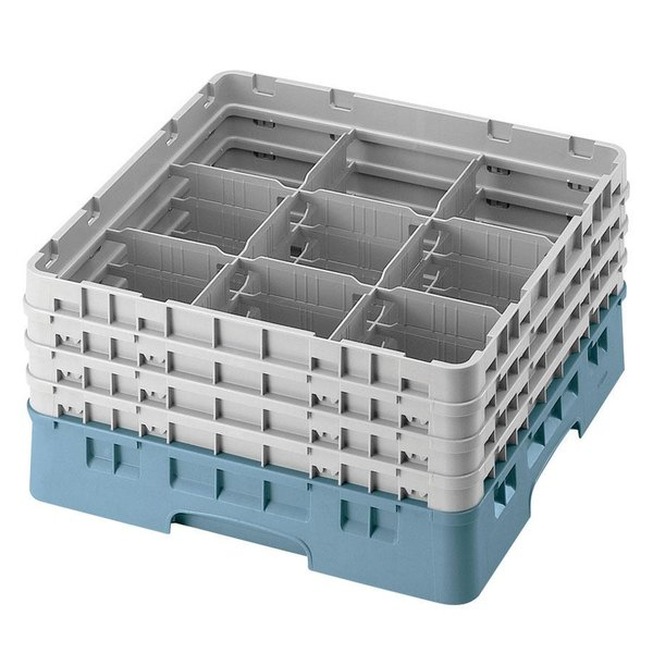 "Cambro 9S800414 Teal Camrack Customizable 9 Compartment 8 1/2"" Glass Rack"