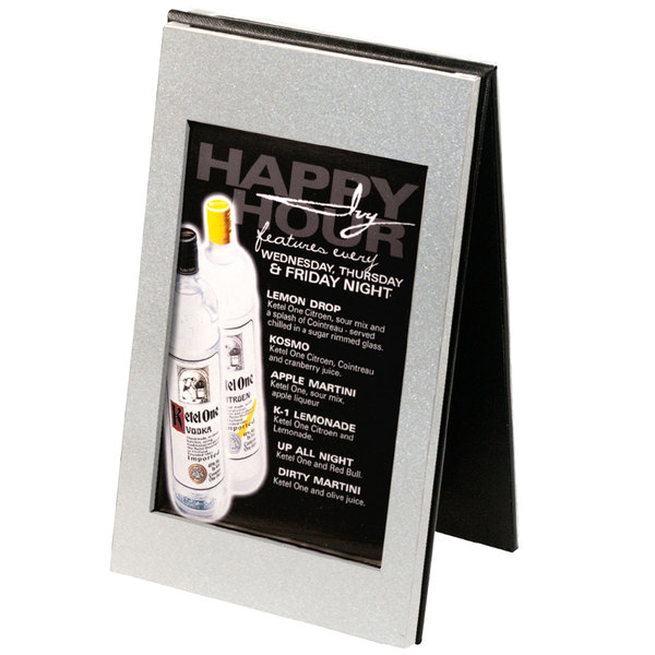 """Menu Solutions CHMT-A Double View Aluminum / Vinyl Menu Tent with Brushed Finish - 4"""" x 6"""""""