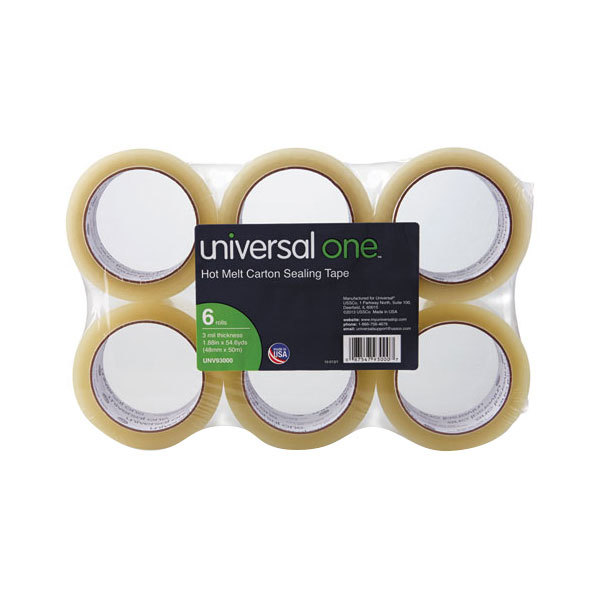 "Universal UNV93000 2"" x 55 Yards Clear Heavy-Duty Box Sealing Tape - 6/Pack"