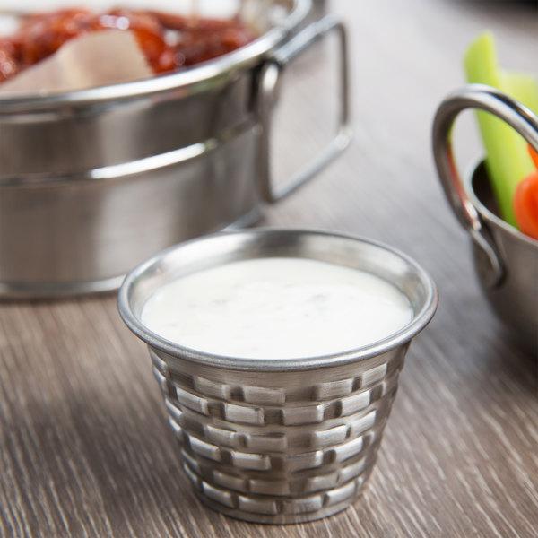 Tablecraft GRSS2 Brickhouse 2.5 oz. Round Stainless Steel Sauce Cup
