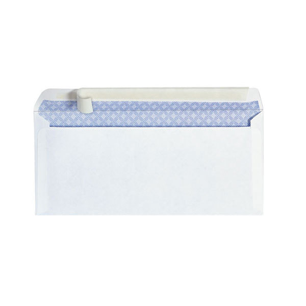 """Universal UNV36004 #10 4 1/8"""" x 9 1/2"""" White Side Seam Security Business Envelope with Peel Seal Adhesive Strip - 100/Box"""