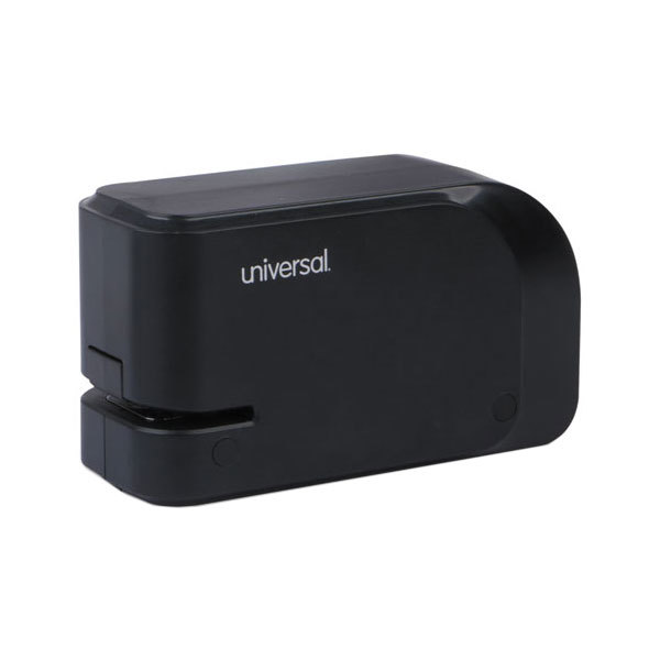 Universal UNV43120 20 Sheet Black Electric Half Strip Stapler with Staple Channel Release Button Main Image 1