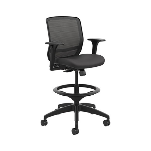 HON QTSMY1ACU10 Quotient Black Ilira-Stretch M4 Mesh Mid Back Task Stool with Casters