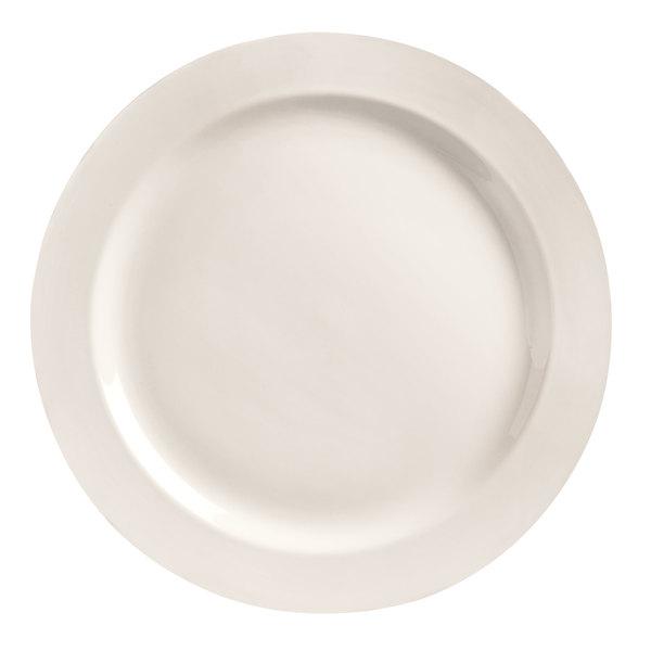 "World Tableware BW-1100 Basics 12 1/2"" Bright White Medium Rim Porcelain Plate - 12/Case"
