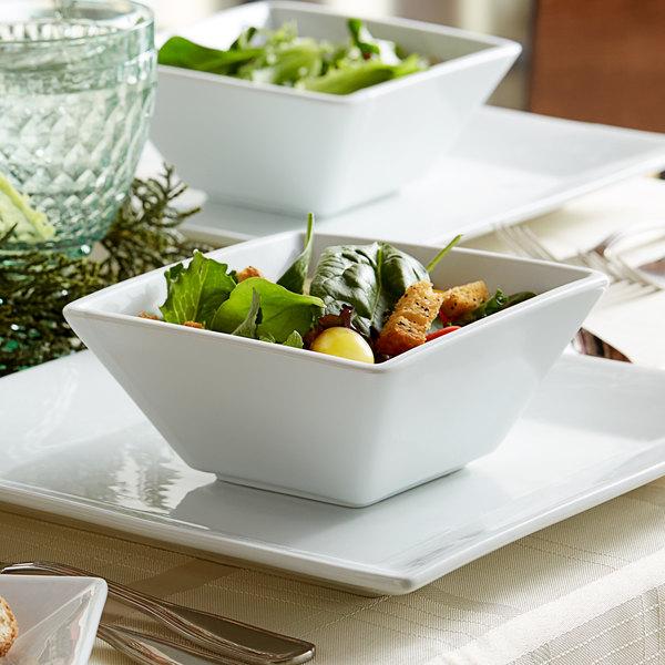 Acopa 18 oz. Square Bright White Porcelain Bowl - 24/Case Main Image 3
