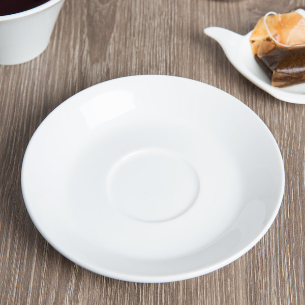 "World Tableware BW-1162 Basics 5 3/4"" Bright White Porcelain Saucer - 36/Case"