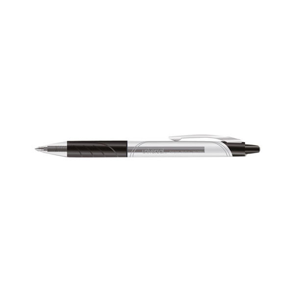 Universal 39910 Black Ink with Clear Barrel 0.7mm Roller Ball Retractable Gel Pen - 36/Pack