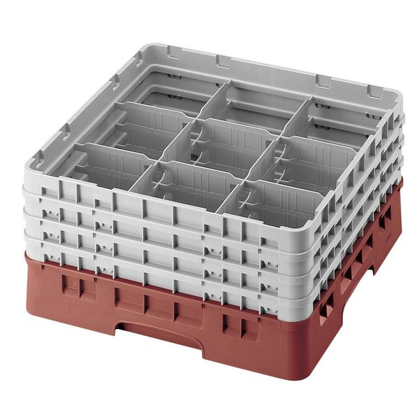 "Cambro 9S434416 Cranberry Camrack Customizable 9 Compartment 5 1/4"" Glass Rack"