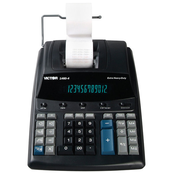 Victor 1460-4 12-Digit Black / Red Two-Color Extra Heavy-Duty Printing Calculator - 4.6 Lines Per Second Main Image 1