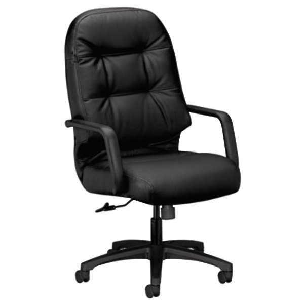 HON 2091SR11T Pillow-Soft Series Black Leather High-Back Swivel Office Chair Main Image 1