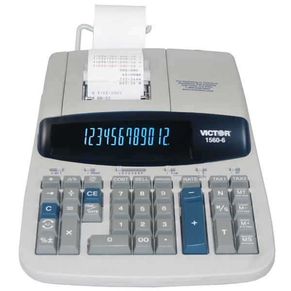 Victor 1560-6 12-Digit Black / Red Two-Color Printing Calculator - 5.2 Lines Per Second