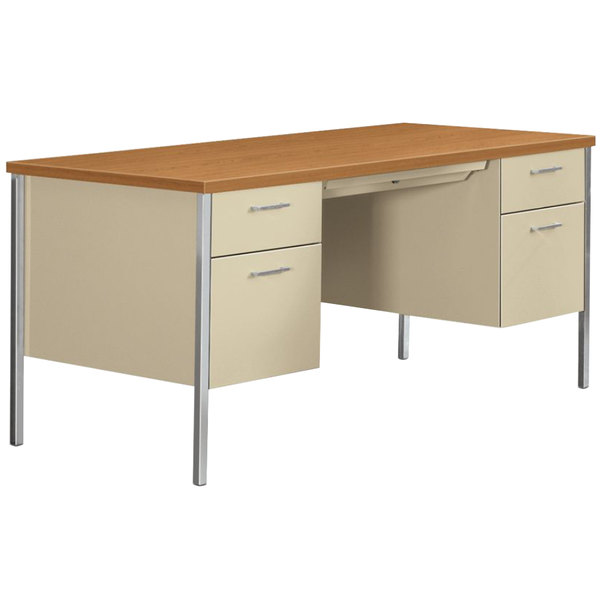 "HON 34962CL 34000 Series 60"" x 30"" x 29 1/2"" Harvest / Putty Metal 3/4 Height Double Pedestal Desk"