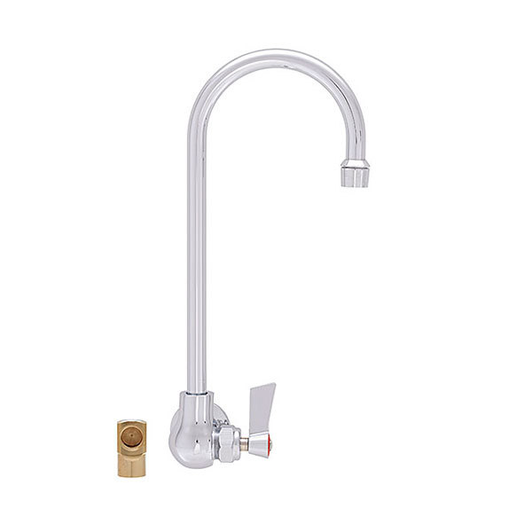 """Fisher 20435 Backsplash Mounted Faucet with 6"""" Swivel Gooseneck Nozzle, 2.2 GPM Aerator, Lever Handle, and Elbow"""