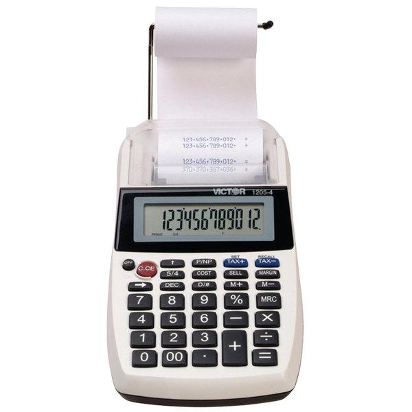 Victor 1205-4 12-Digit Black One-Color Handheld Printing Calculator - 2 Lines Per Second
