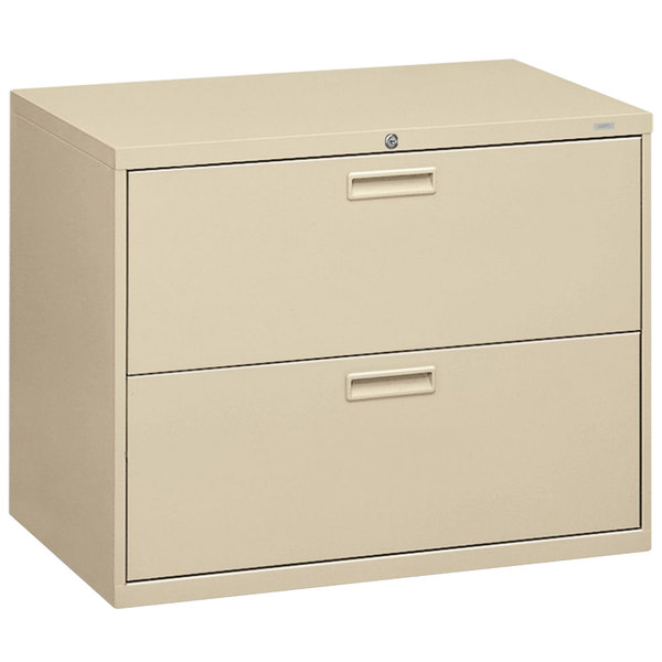 "HON 582LL 500 Series Putty Two-Drawer Lateral Filing Cabinet - 36"" x 19 1/4"" x 28 3/8"""