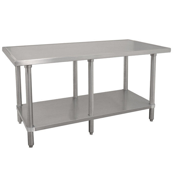 """Advance Tabco VLG-368 36"""" x 96"""" 14 Gauge Stainless Steel Work Table with Galvanized Undershelf"""