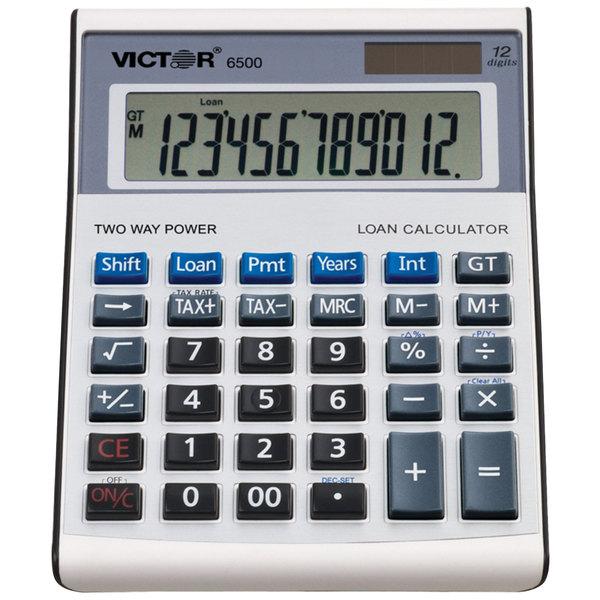 Victor 6500 12-Digit LCD Solar Battery Powered Executive Desktop Loan Calculator Main Image 1