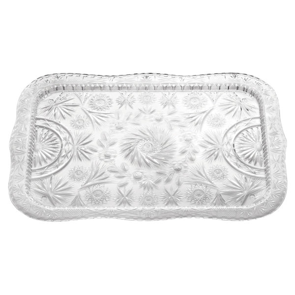 """22"""" x 16 1/2"""" Crystal Rectangular Plastic Catering Tray"""