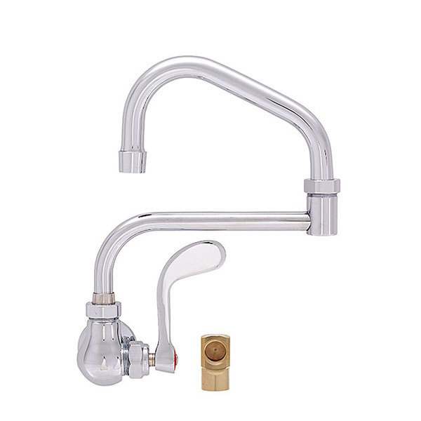 """Fisher 20559 Backsplash Mounted Faucet with 19"""" Double-Jointed Swing Nozzle, 2.20 GPM Aerator, Wrist Handle, and Elbow"""