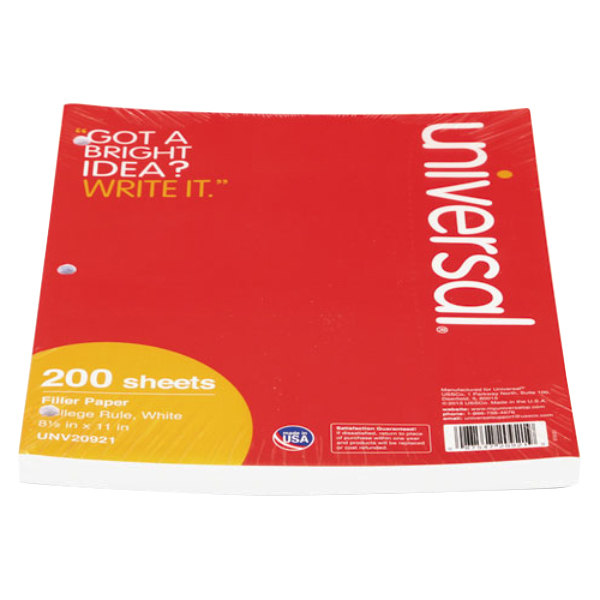 """Universal UNV20921 8 1/2"""" x 11"""" White Pack of College Rule Lined Filler Paper"""