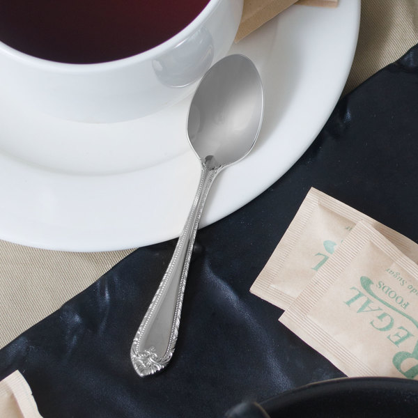 """Reed & Barton RB120-007 London 4 1/4"""" 18/10 Stainless Steel Extra Heavy Weight Demitasse Spoon - 12/Case"""