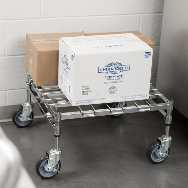 """Regency 24"""" x 24"""" Heavy-Duty Mobile Chrome Dunnage Rack with Mat Main Image 4"""