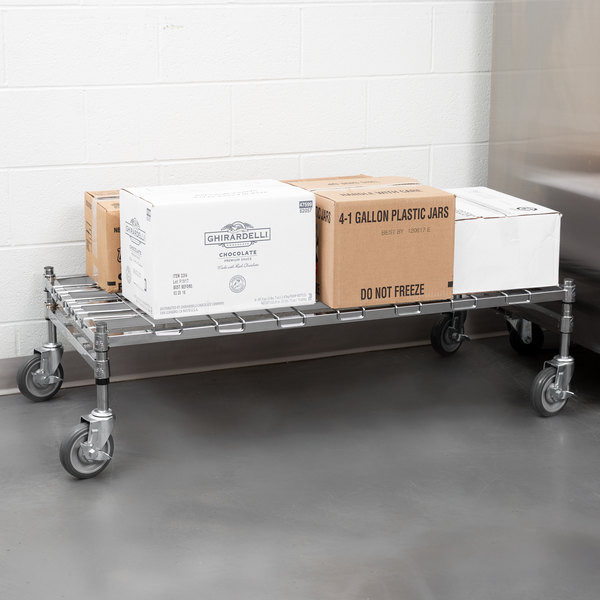 """Regency 24"""" x 48"""" Heavy-Duty Mobile Chrome Dunnage Rack with Mat Main Image 4"""