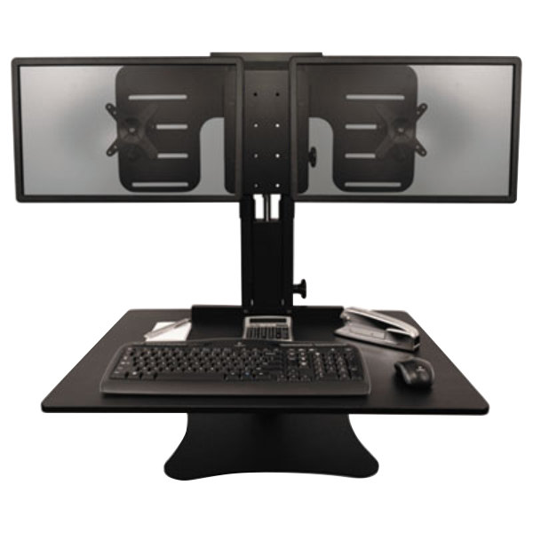 """Victor DC350 High Rise Collection 28"""" x 23"""" x 15 1/2"""" Adjustable Tilt Black Wood Dual Monitor Sit-Stand Workstation"""