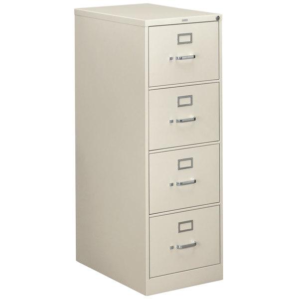 "HON 314CPQ 310 Series Light Gray Full-Suspension Four-Drawer Filing Cabinet - 18 1/4"" x 26 1/2"" x 52"" Main Image 1"