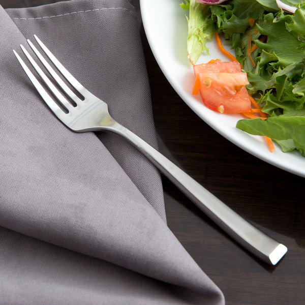 """Reed & Barton RB115-038 East End Satin 7 1/4"""" 18/10 Stainless Steel Extra Heavy Weight Salad Fork - 12/Case"""