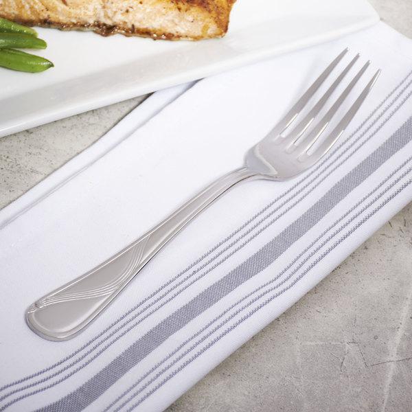 "Bon Chef S2205 Wave 7 3/4"" 18/8 Stainless Steel Dinner Fork - 12/Case"