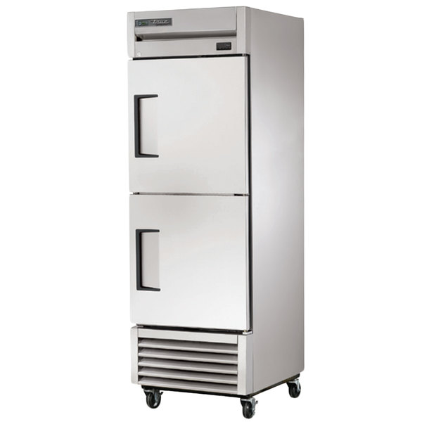 True TS-23F-2-HC Stainless Steel Single Section Half Door Reach In Freezer with Solid Top and Bottom Doors