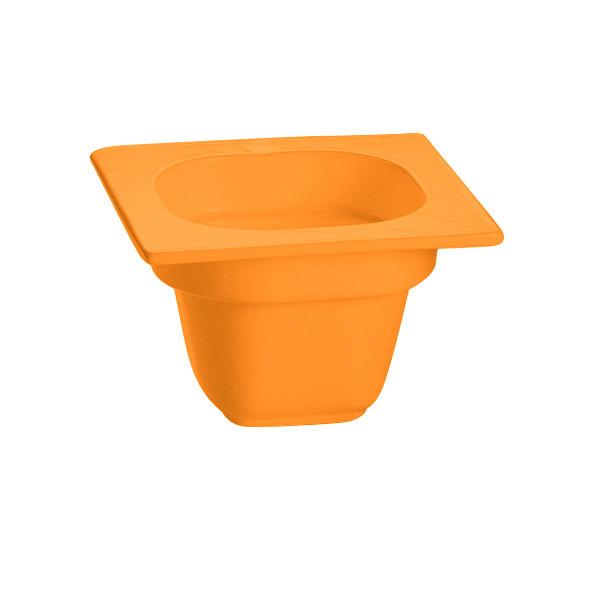 "Tablecraft CW360X 6 1/8"" x 6 3/8"" x 4"" Orange 1/6 Size Deep Cast Aluminum Food Pan"