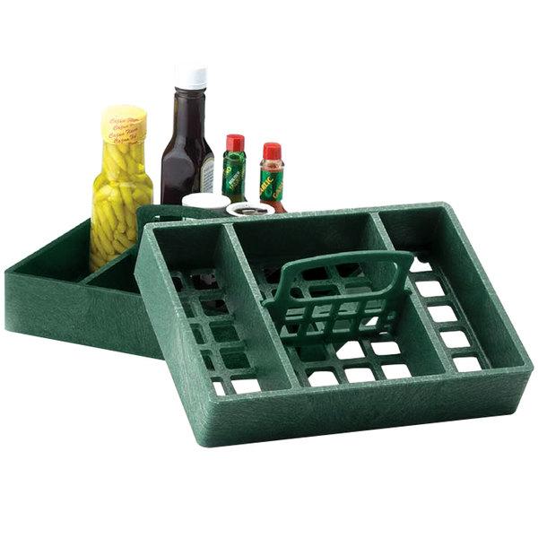 "HS Inc. HS1046 7"" x 10"" Jalapeno Polyethylene 4 Bin Tabletop Condiment Organizer - 12/Case"