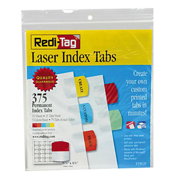 "Redi-Tag 39020 1 1/8"" Multi-Color Laser Printable Plastic Index Tabs - 375/Pack Main Image 1"