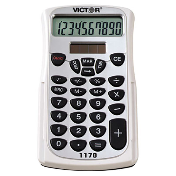 Victor 1170 10-Digit LCD Solar Battery Powered Handheld Business Calculator with Slide Case